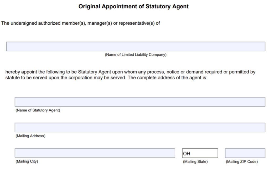 Ohio Requirements of a Statutory Agent