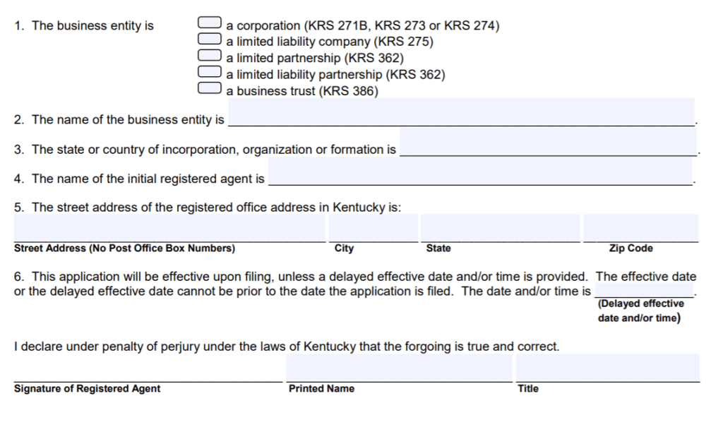 Kentucky Statement of Consent of Registered Agent